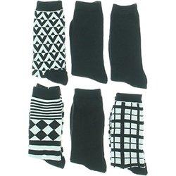 IPNY Women's Ribbed Trim 6PK Crew Socks B/W 9-11