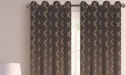 110''x84'' Printed Blackout Grommet Window Panel Pair Beige