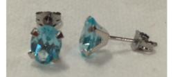 14K White Gold Genuine Oval Topaz Stud Earrings - Blue - 1 Pair