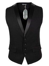 Zicac Men's Gentleman Top Design Casual Waistcoat - Black - Size: 3XL