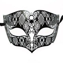 Men's Black Laser Cut Half Mask