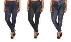 EAG Women's Plus Size Denim Print Jeggings - 3-Pack - Size: 1x/2x
