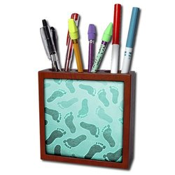 """3dRose Sandy Footsteps-Tile Pen Holder - Turquoise N Aqua - Size: 5"""""""