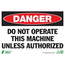 """ZING 2095A 'Danger Do Not Operate' Aluminum Safety Sign - Size: 14""""W x10""""H"""