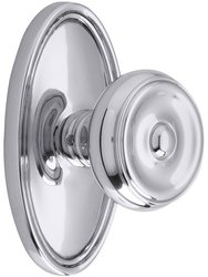 Emtek Oval Rosette Set with Waverly Knob - Double Dummy in Polished Chrome