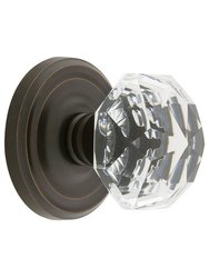 Emtek Classic Rosette Set with Diamond Crystal Knob -Dummy Oil Rubbd Brnze