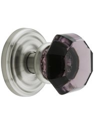Emtek Classic Rosette Set with Amethyst Knobs - Passage Satin Nickel