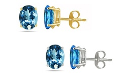 Genuine Oval Blue Topaz Gemstone Stud Earrings