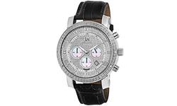 Joshua & Sons Men's Js-28 Quartz Chronograph Diamond Leather Watch - Black