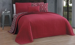 Geneva Home 5-Piece Ansley Reversible Quilt Set - Red - Size: King