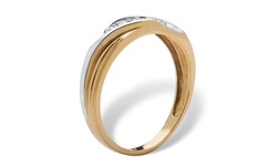Men's Round 18k Gold over .925 Silver Cubic Zirconia Wedding Band Ring - Size: 11
