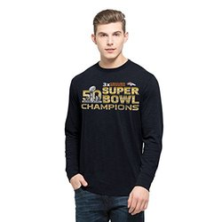 NFL Denver Broncos Men's 2015 Super Bowl 50 Champions '47 Long Sleeve 3-Time Champs Scrum Tee, Fall Navy, Medium