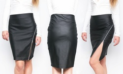 Women's Side Zip Pencil Skirt: Black - Large