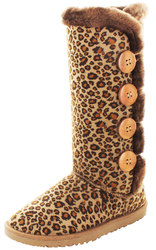 Moda Essentials Women's Tall Button Winter Boots: Leopard - 8