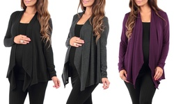 3-pack Hacci Draped Maternity Cardigan - Black/Charcoal/Eggplant - Size: M