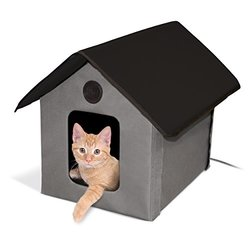 "Outdoor Heated Kitty House: Gray & Black 18"" X 22"" X 17"""