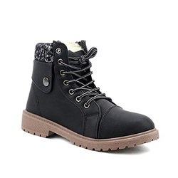 Knit Fabric Trimmed Work Boots: Black/size 7.5
