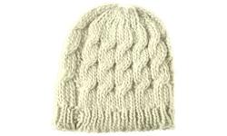 Women's Winter Warm Crochet Hat Braided Beanie Cap - Beige - Size: One