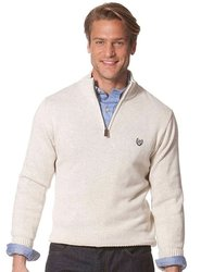 Chaps Elbow-Patch Mockneck Sweater - Chalk - Size: XL