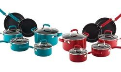 Guy Fieri 10 Piece Nonstick Aluminum Cookware Set - Turquoise - Size: L