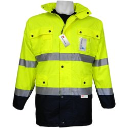 Global GLO-P1 Class 3 Lined Scotchlite Work Wear Jaket - Lime/Black- 4XL