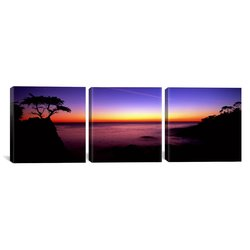 "iCanvasART 48""x16"" 3-Pc Silhouette of Lone Cypress Tree Canvas Art Print"
