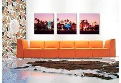 """iCanvasART 48""""x16"""" 3-Pc Night Ocean Drive Miami Beach Canvas Art Print"""