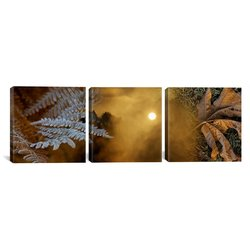 "iCanvasART Panoramic Images 48""x16"" Cold Feet Leaves 3-Pc Canvas Art Print"