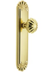 Emtek Trenton Door Set with Fluted Brass Knobs -Passage in Polished Brass