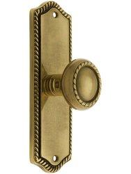 Emtek Colonial Rope Design Door Set with Knob - Antique Brass Passage