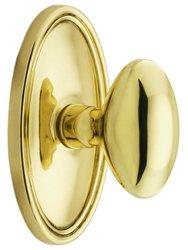 Emtek Oval Rosette Set with Elliptical Knobs -Double Dummy Polished Brass