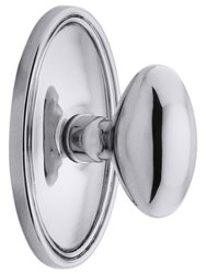 Emtek Oval Rosette Set with Elliptical Knobs -Passage Polished Chrome