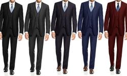 Braveman Slim Fit 3-piece Suit With Free Tie: Black/52lx46w