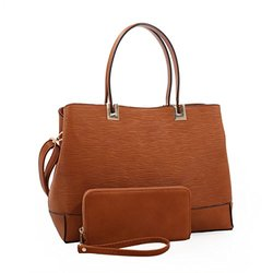 Marjorie Embossed Satchel with Matching Wallet Tan