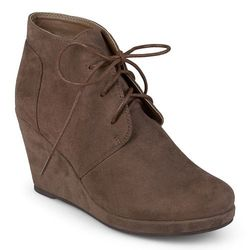 Journee Collection Women's Faux Suede Wedge Booties - Taupe - Sz: 9