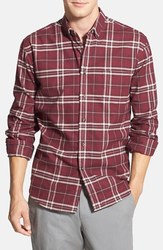 Slate & Stone Calvin Trim Fit Plaid Flannel Shirt - Maroon - Size: Large