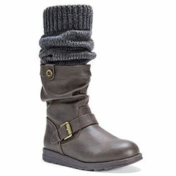 Muk Luks Flattering Sky Boots With Belt Wrap For Women - Brown - Size: 7