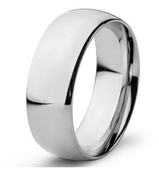 Men's Stainless Steel High Polished Domed Wedding Band Ring - 8mm