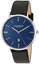 Akribos XXIV Men's Quartz Easy-to-Read Date Leather Strap AKGP935SSBU