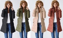 Lady Belted Women's Belted Puffer Jacket w/ Fur-Lined Hood - Tan - M