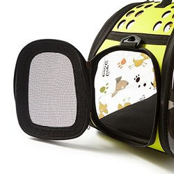 PINMEI PETS Fashion Design Dog & Cat Carrier Travel Bag Airline Approved, Foldable Breathable Visible (Green)