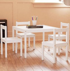 Fasthomegoods Kids Table & Chairs 5 Pc Set - White