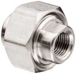 Polyconn Brass Pipe Fitting Union Female 10 Pk - Nickel Plated - Size:1/8""