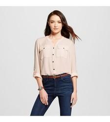 Merona Women's Utility Top - Pink - Size: XS