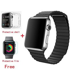 Otmake Magnetic Leather Band Strap for Apple Watch - Black - Size: 38mm