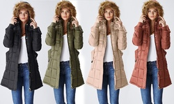 Women's Juniors Belted Puffer Jacket w/ Fur Lined Hood - Khaki - Size: XL