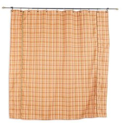 "Upstream Plaid Coral Standard Cut, Brown Corded Shower Curtain,  72"" w x 72"" l"