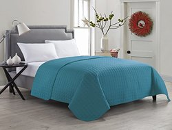 Anderson Solid Embossed Quilt: King-teal