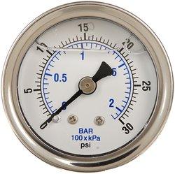 PIC Gauge 202L-404P Glycerin Filled Center Back Mount Pressure Gauge