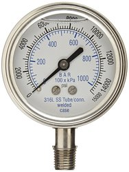 PIC 301LFW-254V 0/15000 Psi Range Glycerin Filled Bottom Pressure Gauge